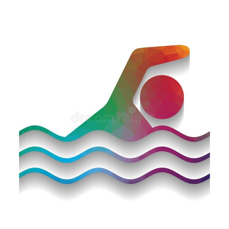 Sinal do esporte de água da natação Vetor Ícone colorido com tex brilhante ilustração stock