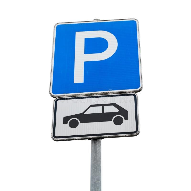 Sinal do estacionamento do carro de motor Sinal de estrada quadrado azul foto de stock royalty free