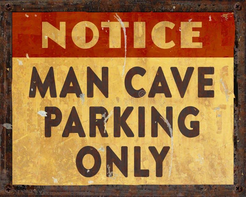 Sinal do estacionamento da caverna do homem foto de stock