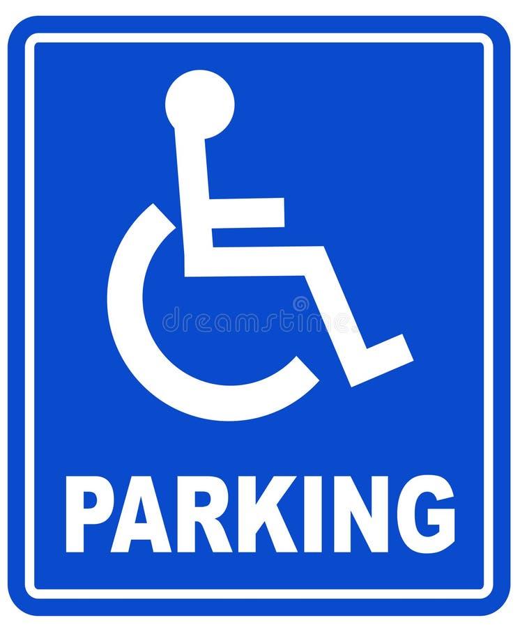 Sinal do estacionamento da desvantagem ilustração stock