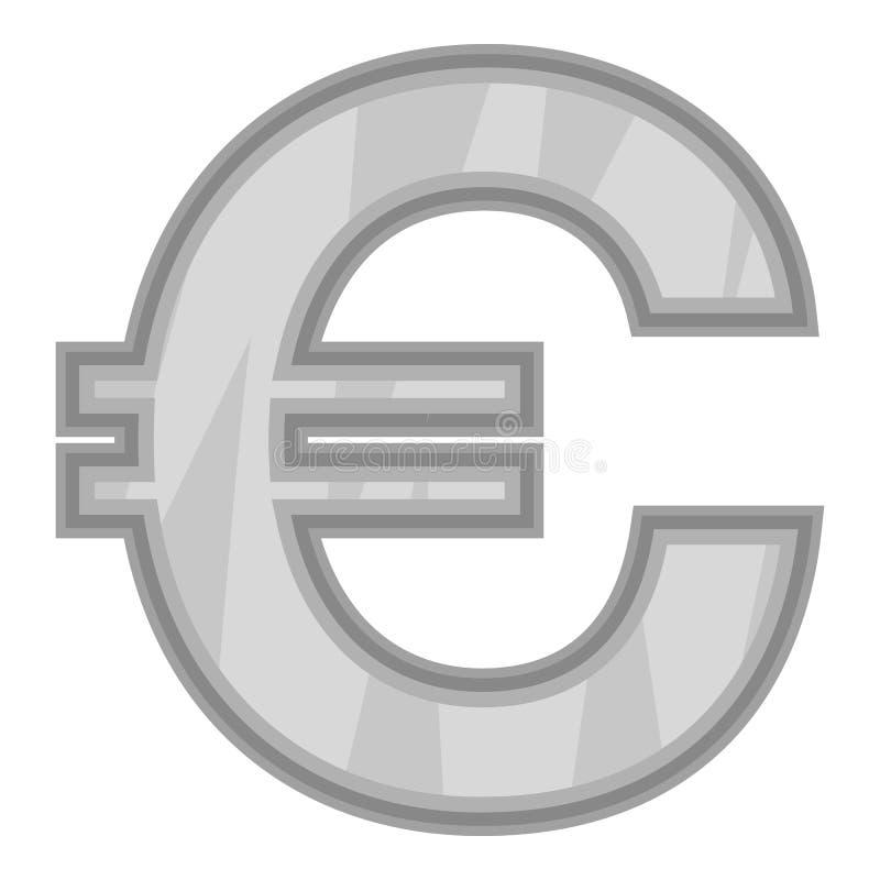 Sinal do euro- ícone do dinheiro, estilo monocromático preto ilustração do vetor