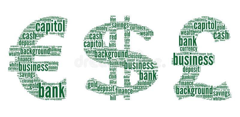 Sinal do euro, dólar, libra ilustração do vetor