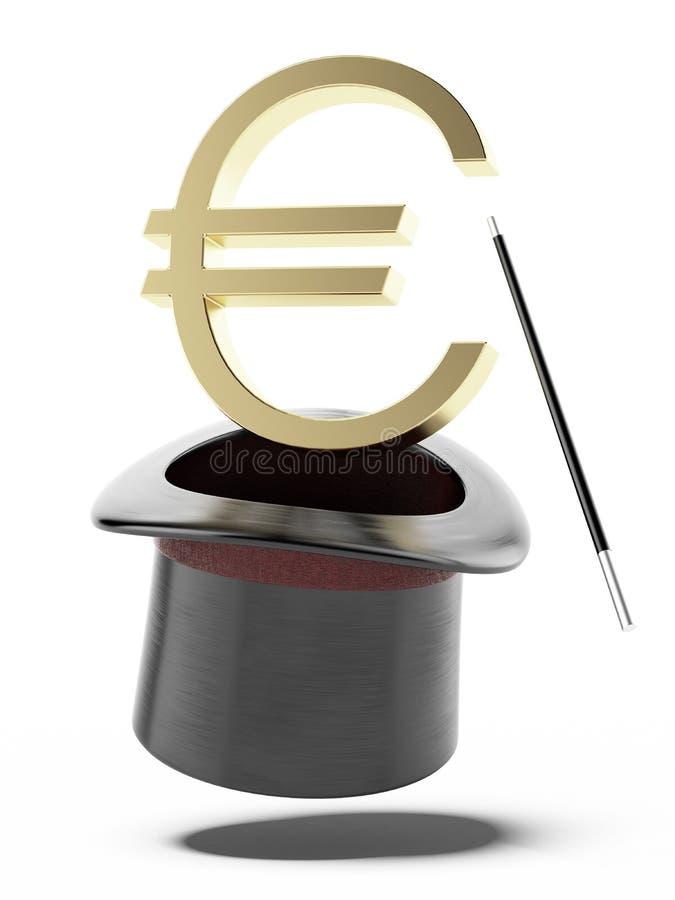 Sinal do euro em um cilindro ilustração stock