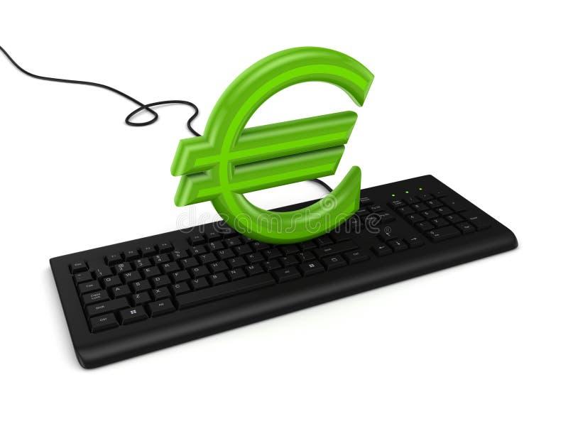 Sinal do euro em um teclado. ilustração royalty free