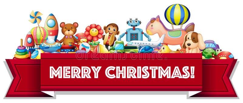 Sinal do Feliz Natal com muitos brinquedos ilustração stock