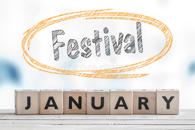 Sinal do festival de janeiro em uma tabela imagem de stock royalty free