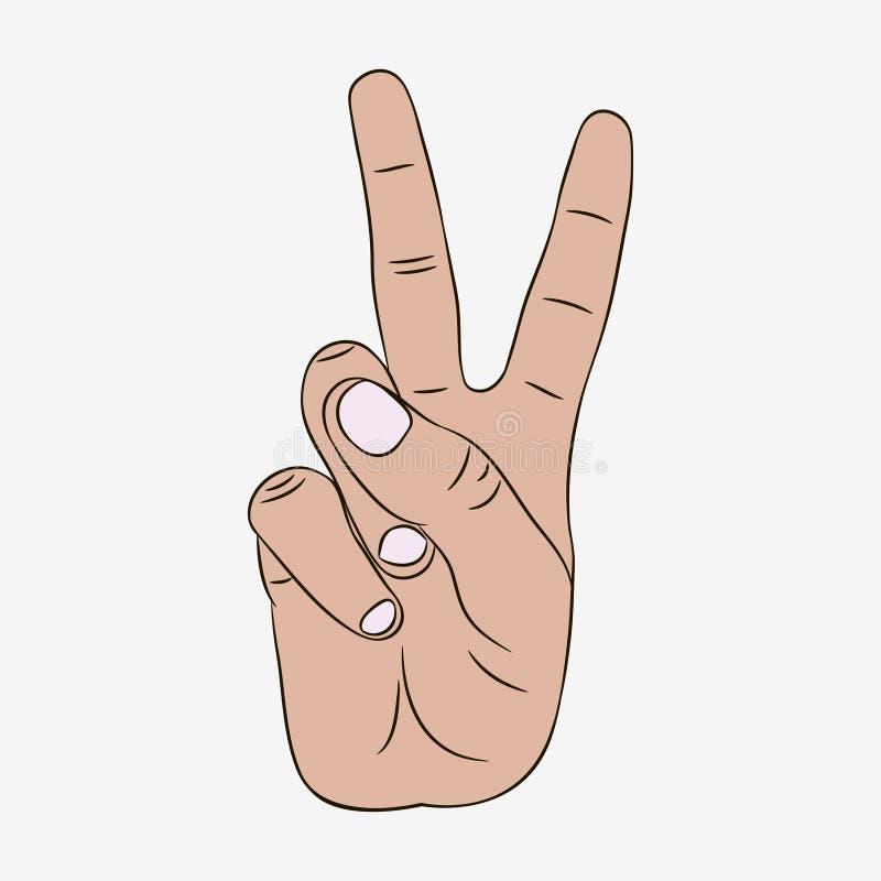 Sinal do gesto de mão da paz e da vitória Vetor ilustração royalty free
