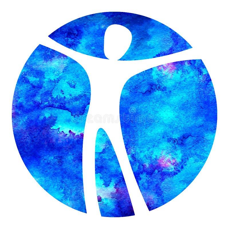 Sinal do homem de Logo Modern da aquarela da psicologia Ser humano em um círculo Estilo creativo Ícone dentro Conceito de projeto ilustração royalty free