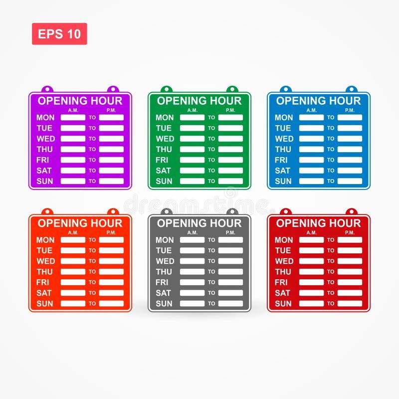 Sinal do horário laboral ou da hora de abertura com seis cores ilustração do vetor