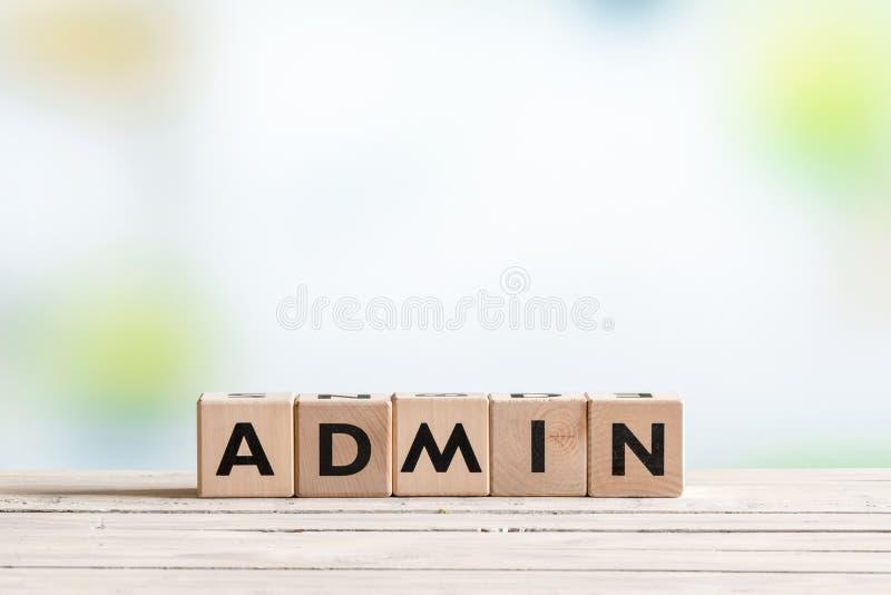 Sinal do início de uma sessão do Admin em uma tabela imagens de stock