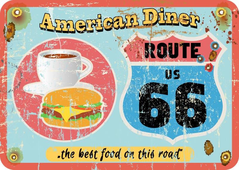 Sinal do jantar da rota 66 do vintage, ilustração do vetor