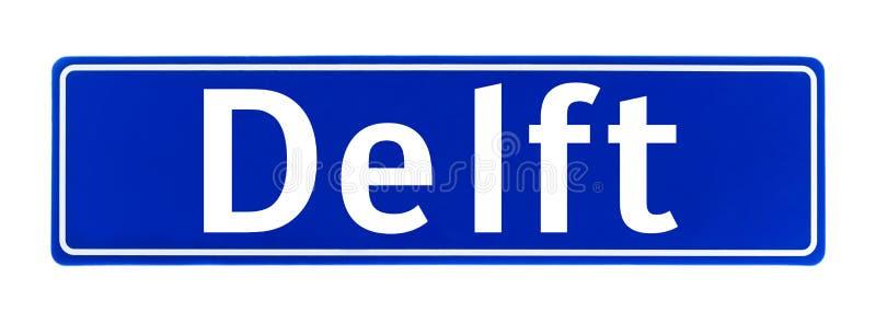 Sinal do limite de cidade da louça de Delft, os Países Baixos imagem de stock