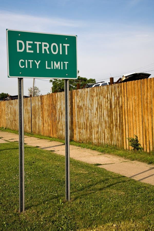 Sinal do limite de cidade de Detroit Michigan imagens de stock