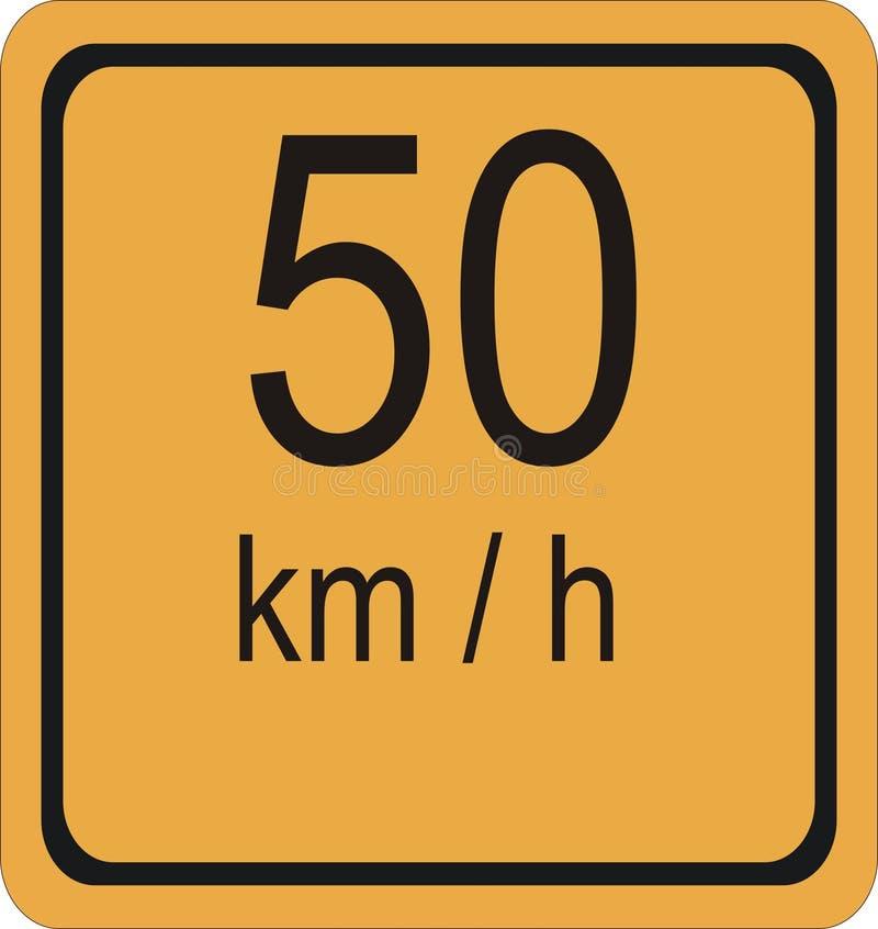 sinal do limite de velocidade de 50 km/hr ilustração royalty free