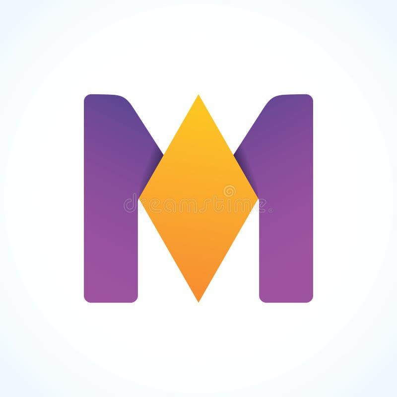 Sinal do logotipo da letra M, projeto material de papel, vetor imagens de stock