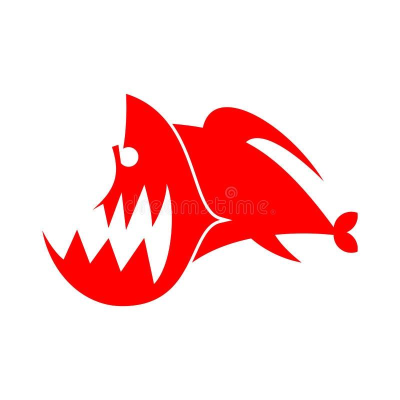 Sinal do logotipo das piranhas Peixes de Marine Predator das Amazonas Dentado rive ilustração do vetor