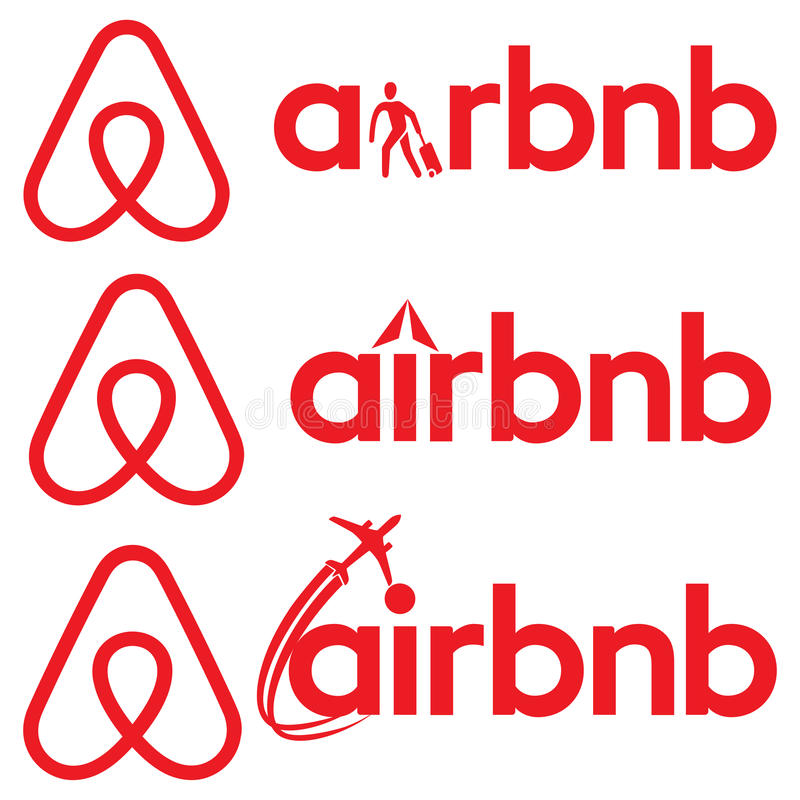 Sinal do logotipo de Airbnb ilustração royalty free