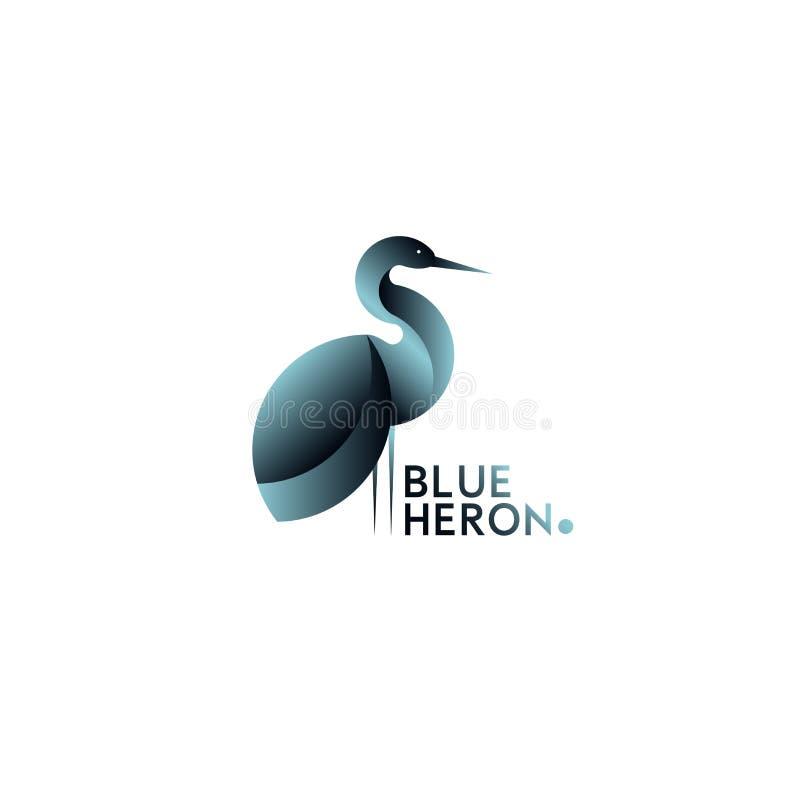 Sinal do logotipo do vetor com garça-real ilustração royalty free