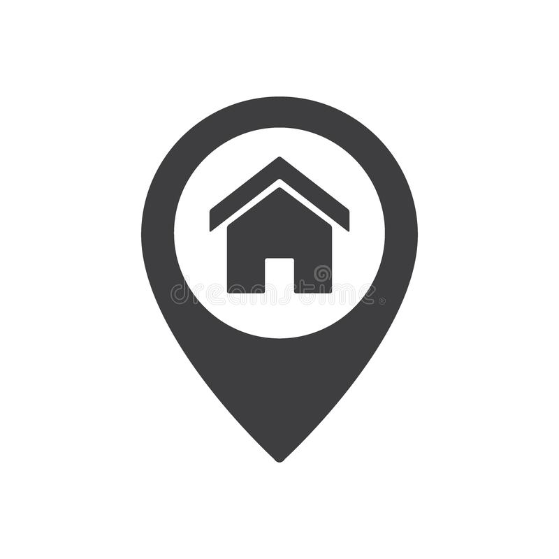 Sinal do lugar do ponto da casa Ícone do ponteiro do mapa da casa ilustração stock