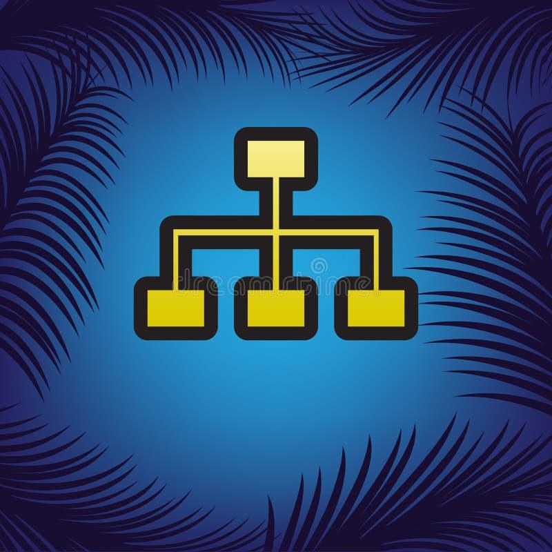 Sinal do mapa do site Vetor Ícone dourado com contorno preto em vagabundos azuis ilustração stock