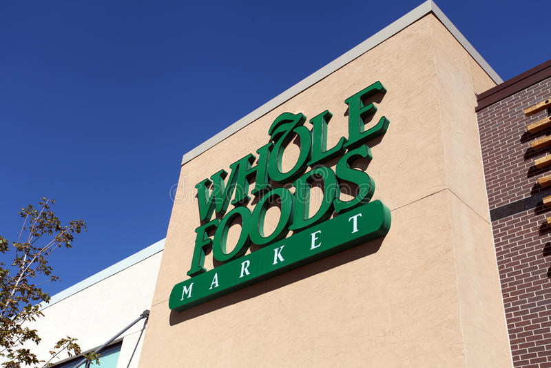 Sinal do mercado de Whole Foods fotografia de stock royalty free