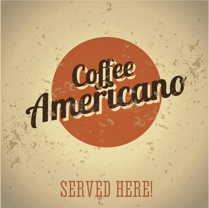 Sinal do metal do vintage - café Americano ilustração do vetor