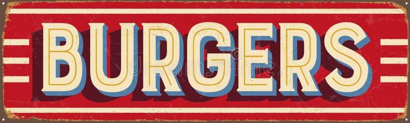 Sinal do metal do vintage - hamburgueres ilustração do vetor
