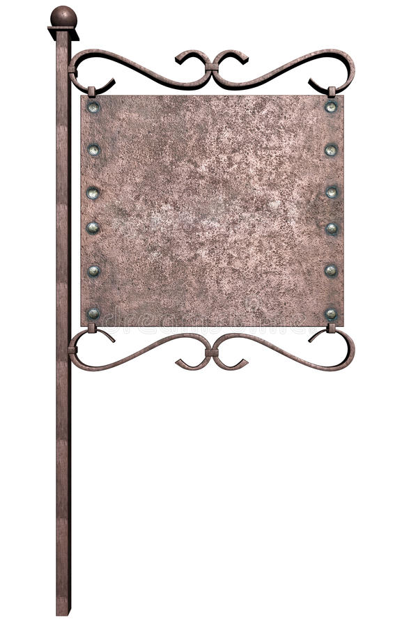 Sinal do metal no pólo da rua ilustração stock