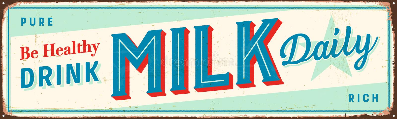 Sinal do metal do vintage - seja leite saudável da bebida diário ilustração stock