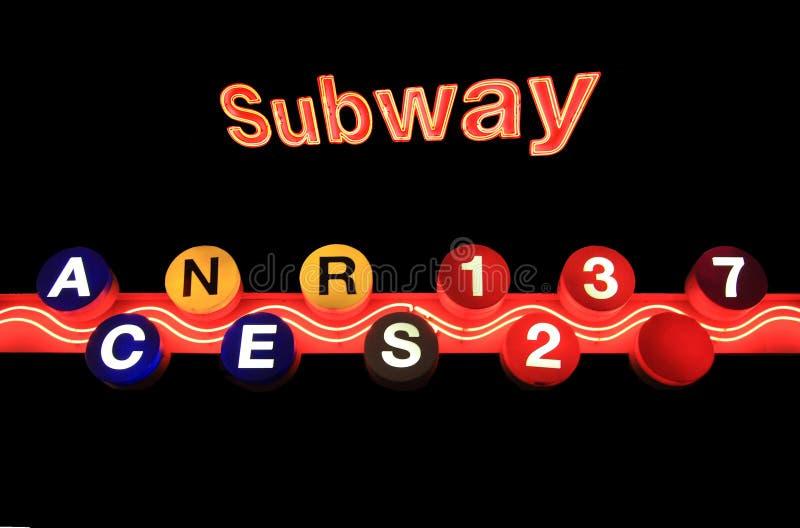 Sinal do metro de New York isolado no fundo preto foto de stock