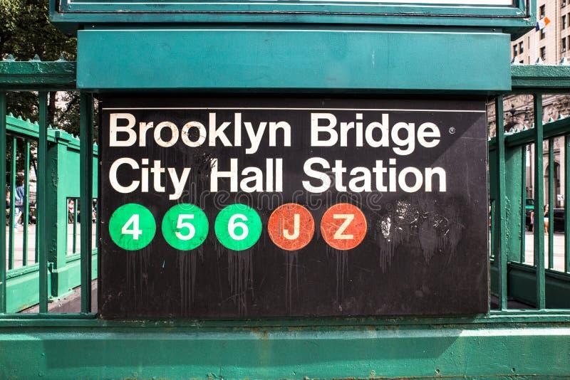Sinal do metro de NYC imagem de stock