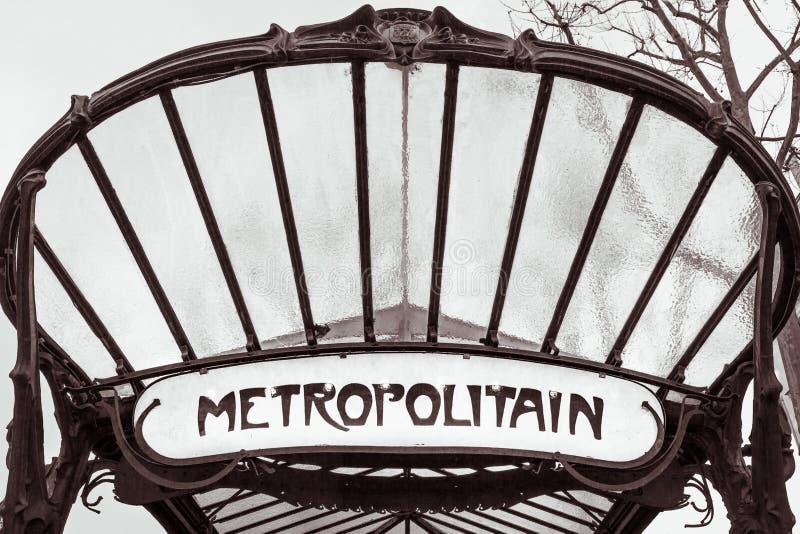Sinal do metro de Paris foto de stock