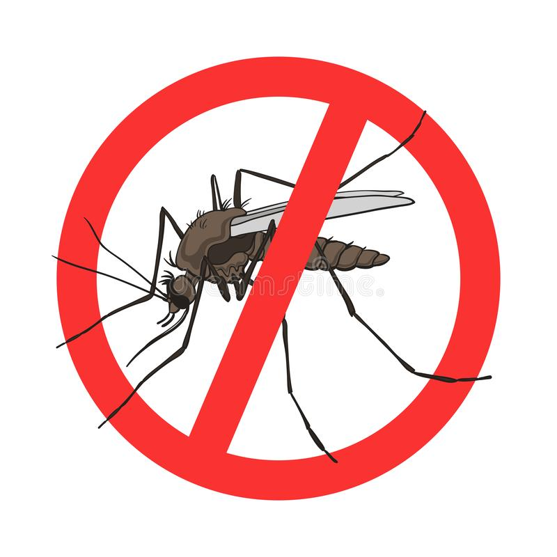 Sinal do mosquito da parada, imagem do vetor em um círculo cruzado vermelho da saída ilustração stock