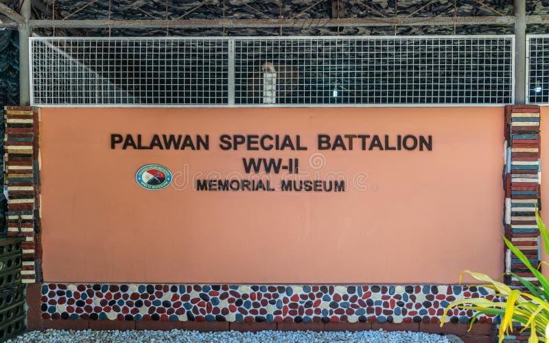 Sinal do museu especial do batalhão WW II de Palawan em Puerto Princesa, Palawan, Filipinas fotos de stock