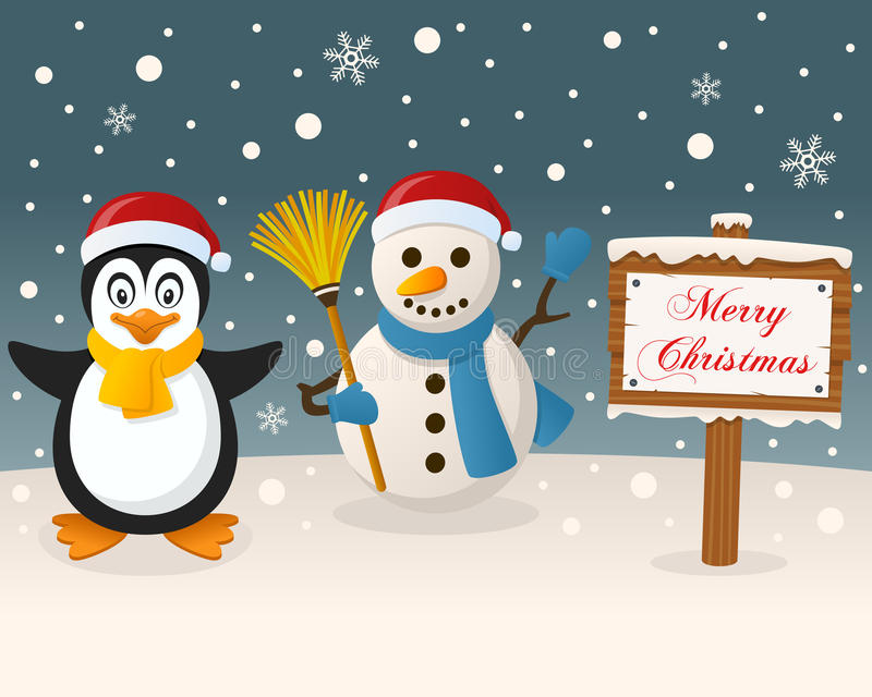 Sinal do Natal - pinguim & boneco de neve bonito ilustração stock