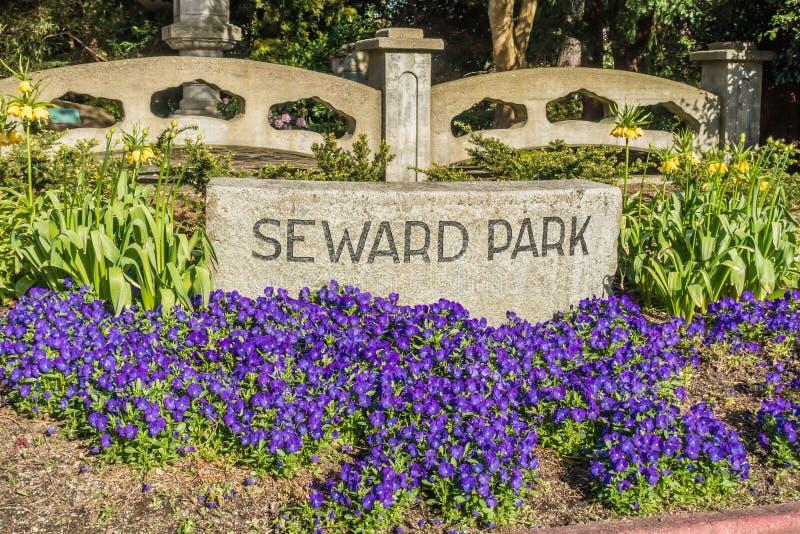 Sinal do parque de Seward imagem de stock