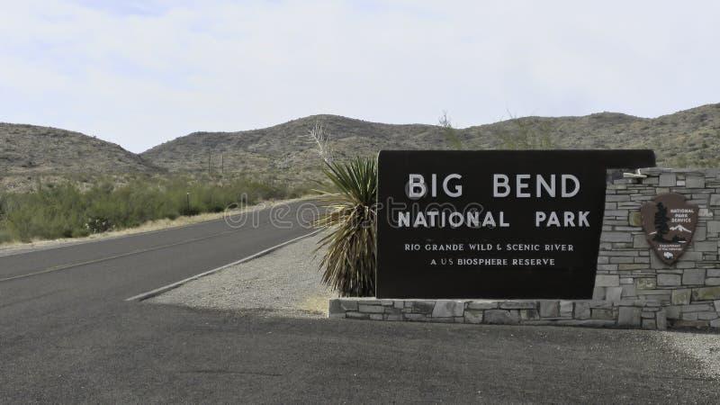 Sinal do parque nacional de curvatura grande imagem de stock