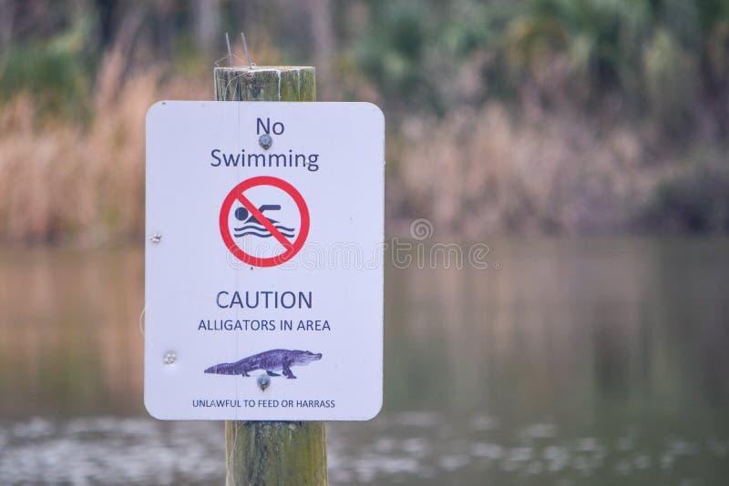 Sinal do perigo dos jacarés em Kathryn Abbey Hanna Park, o Condado de Duval, Jacksonville, Florida imagens de stock royalty free