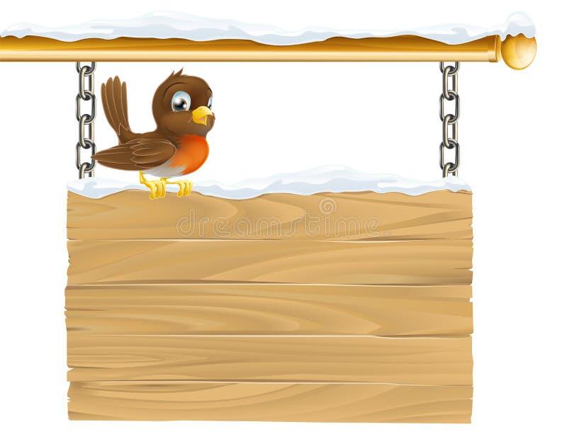Sinal do pisco de peito vermelho do inverno ilustração stock