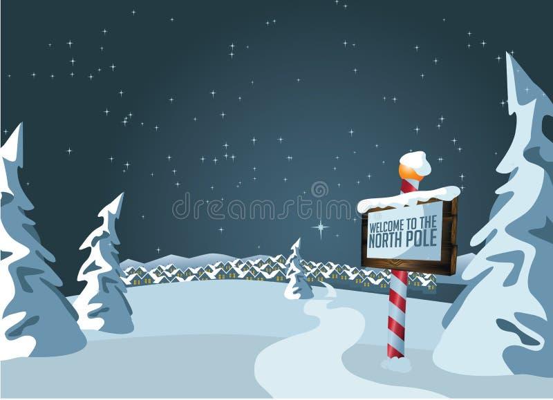 Sinal do Polo Norte com fundo nevado ilustração stock
