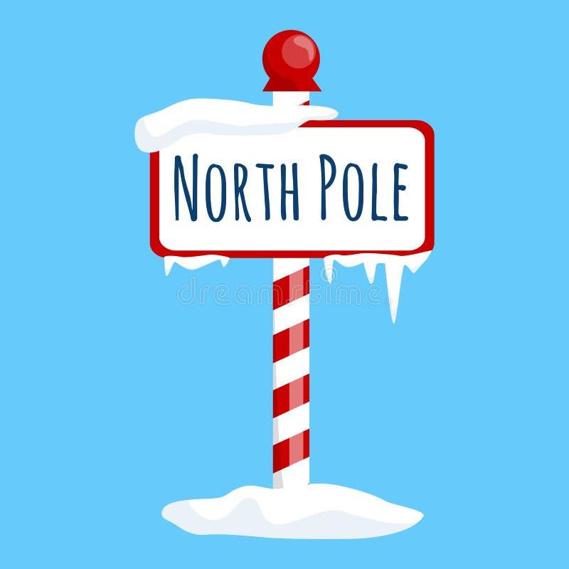 Sinal do Polo Norte do ícone do Natal com neve e gelo, símbolo do xmas do feriado de inverno, bandeira dos desenhos animados ilustração stock
