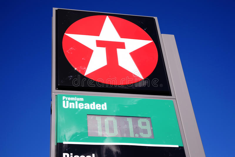 Sinal do posto de gasolina de Texaco imagens de stock