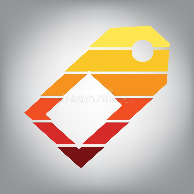 sinal do preço Vetor Ícone horizontalmente cortado com cores para ilustração stock