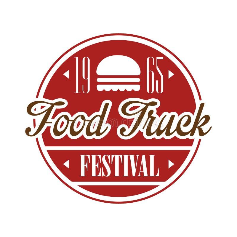 Sinal do Promo do festival do alimento do café do caminhão do alimento, molde colorido do projeto do vetor na cor vermelha no qua ilustração royalty free