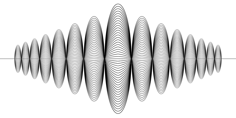 Sinal do registro digital audio, onda sadia de rádio da música, guilloche do terremoto da sismologia do sinal do vetor ilustração stock