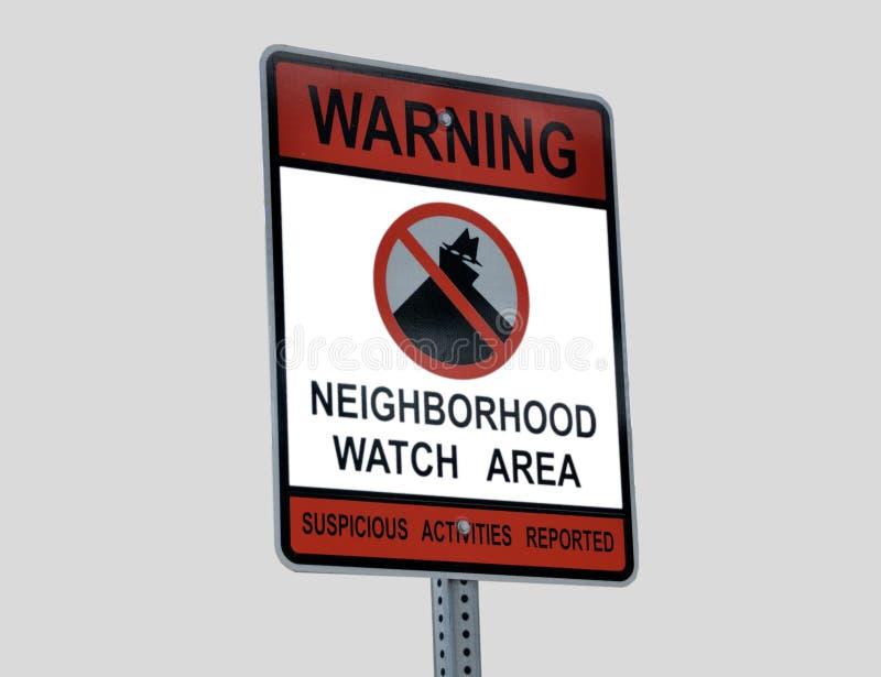 Sinal do relógio do crime da vizinhança imagens de stock