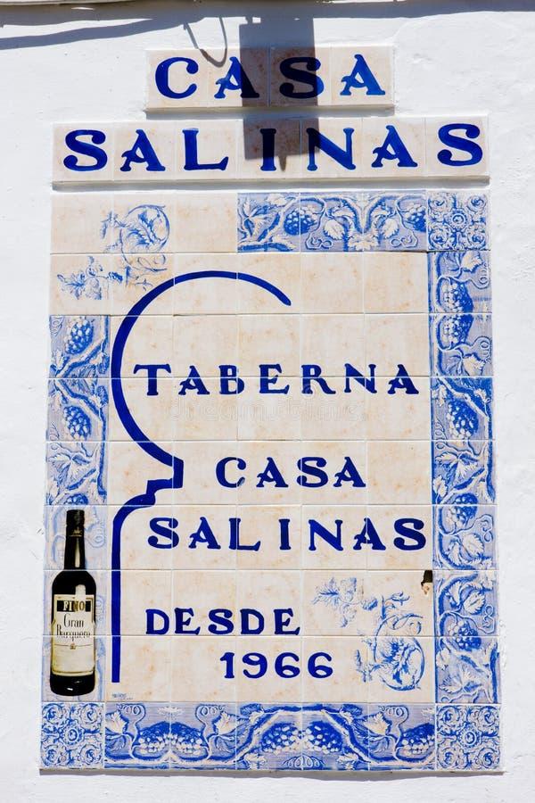 sinal do restaurante, a Andaluzia, Espanha fotografia de stock royalty free