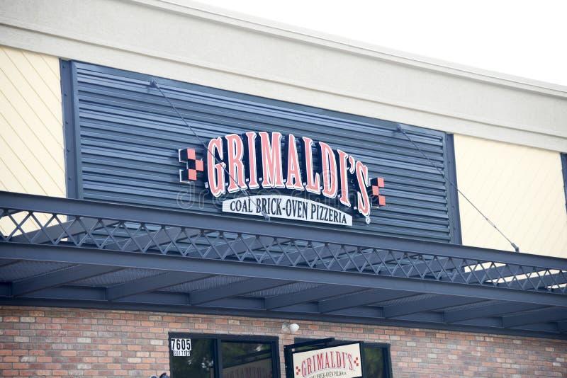 Sinal do restaurante da pizza de Grimaldi imagem de stock