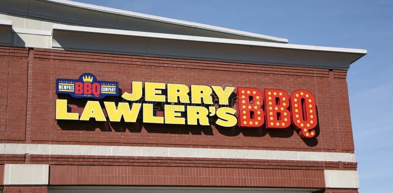 Sinal do restaurante de assado do ` s de Jerry Lawler fotos de stock royalty free