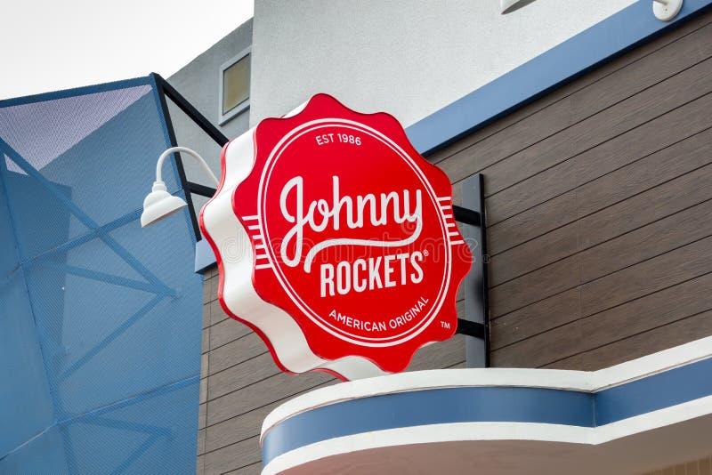 Sinal do restaurante de Johnny Rockets fotografia de stock